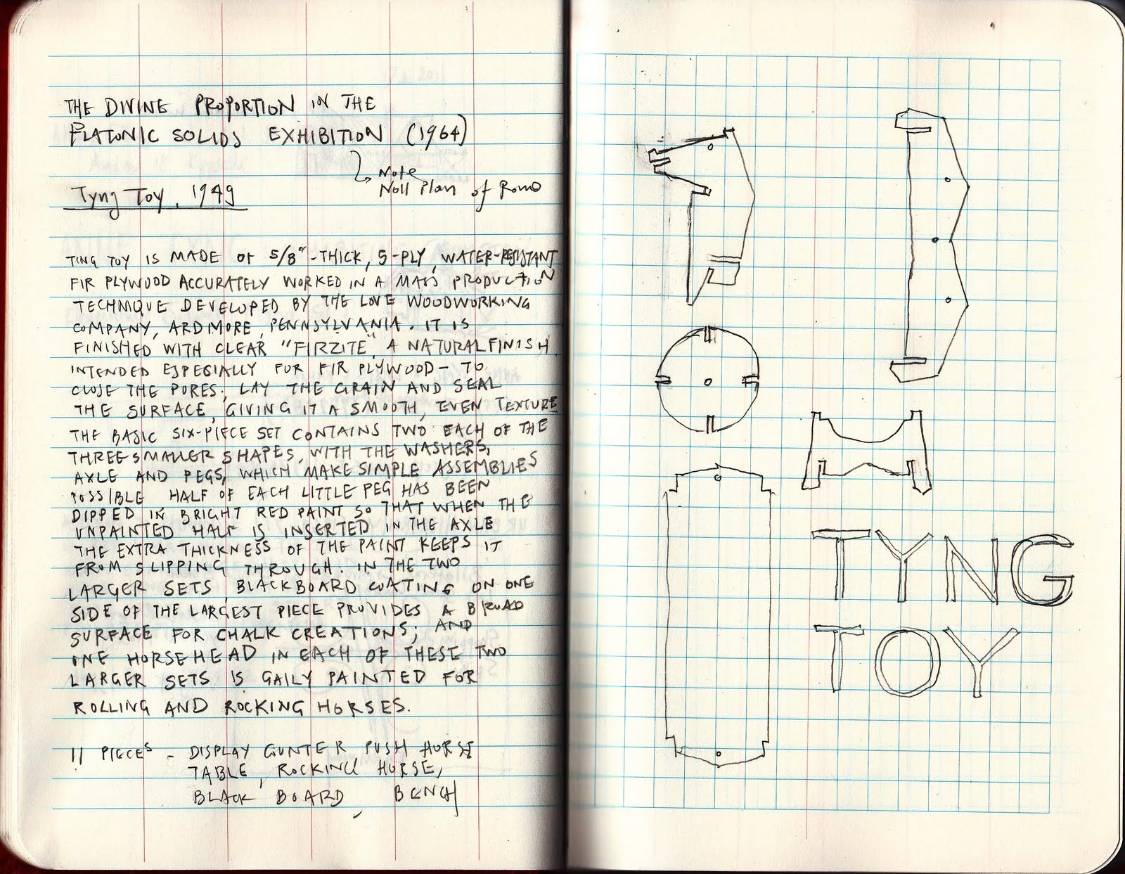 Sketchbook of Anne Tyng with images of the Tyng Toy